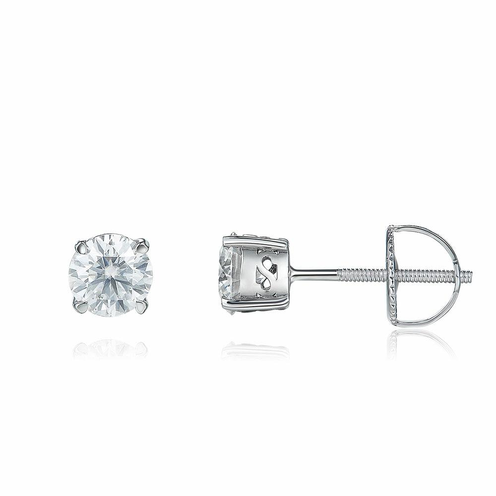 Modern Crown 1 Carat Round Moissanite Earlobe Screw Back Stud Earrings