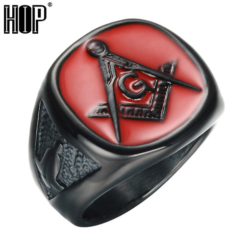 Black and Red Stainless Steel and Titanium Masonic Ring - Retro Revolution