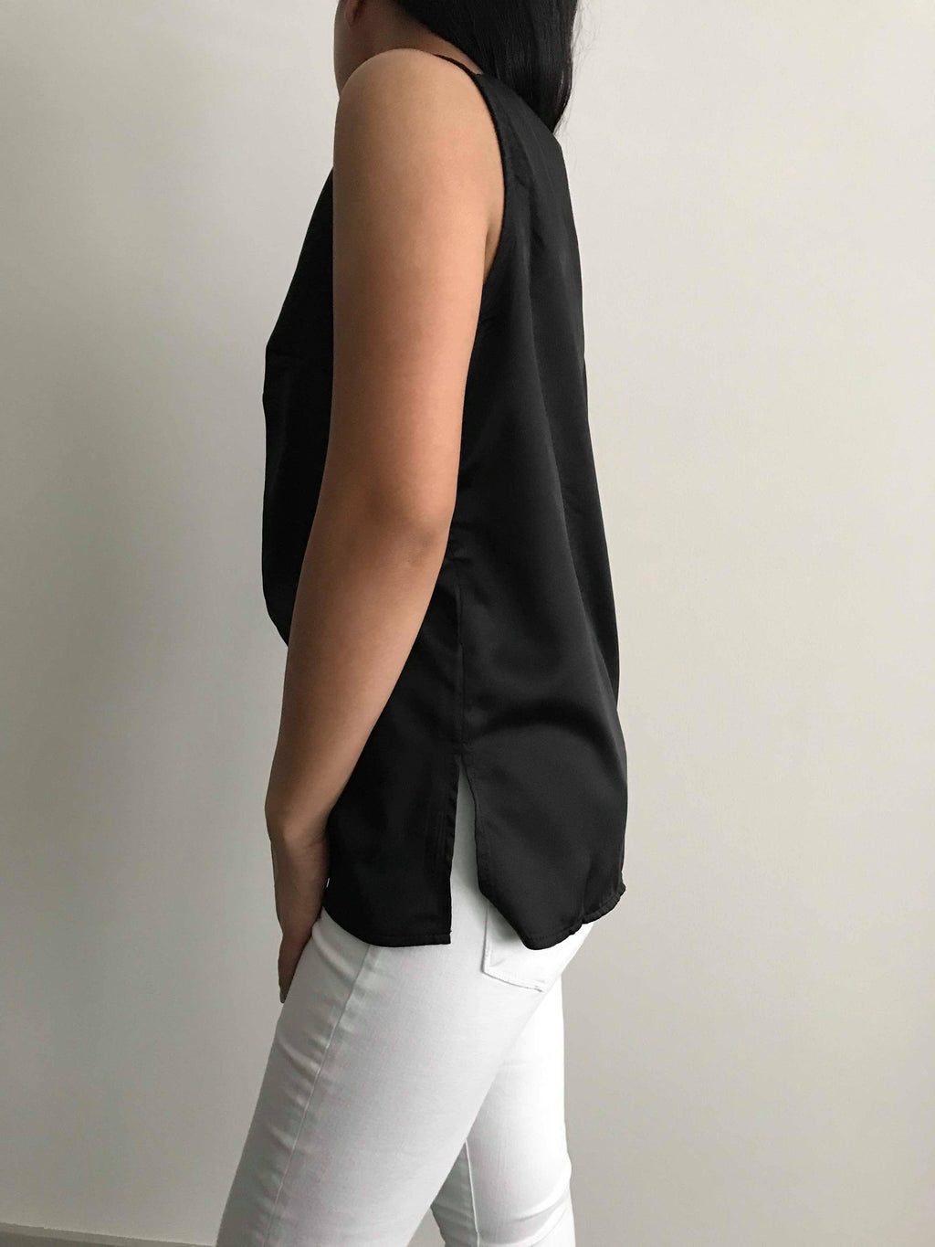Black Satin Sleeveless Top