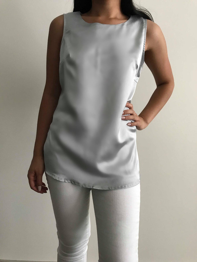 Silver Sleeveless Top