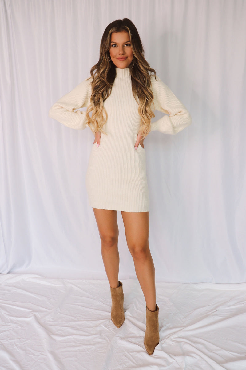 Camilla Puff Sleeve White Sweater Dress