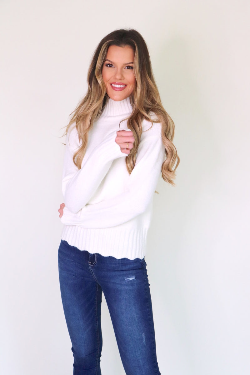 Scalloped Hem Turtleneck