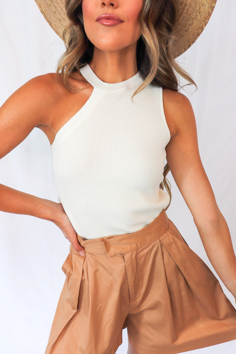 Asymmetrical Cut Out Ribbed Top