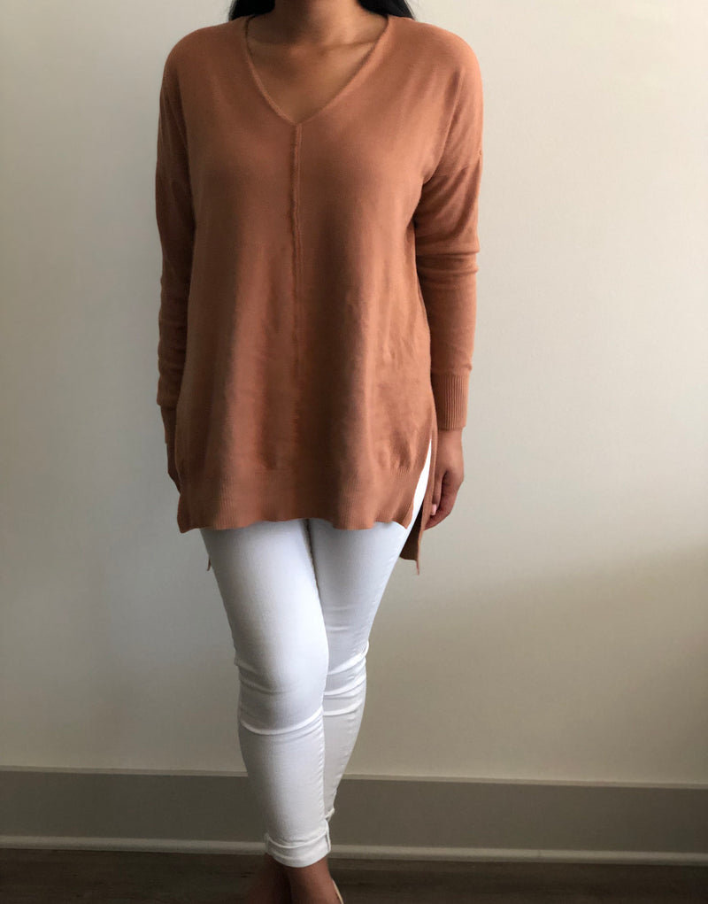 Hi-Low Front Seam Sweater