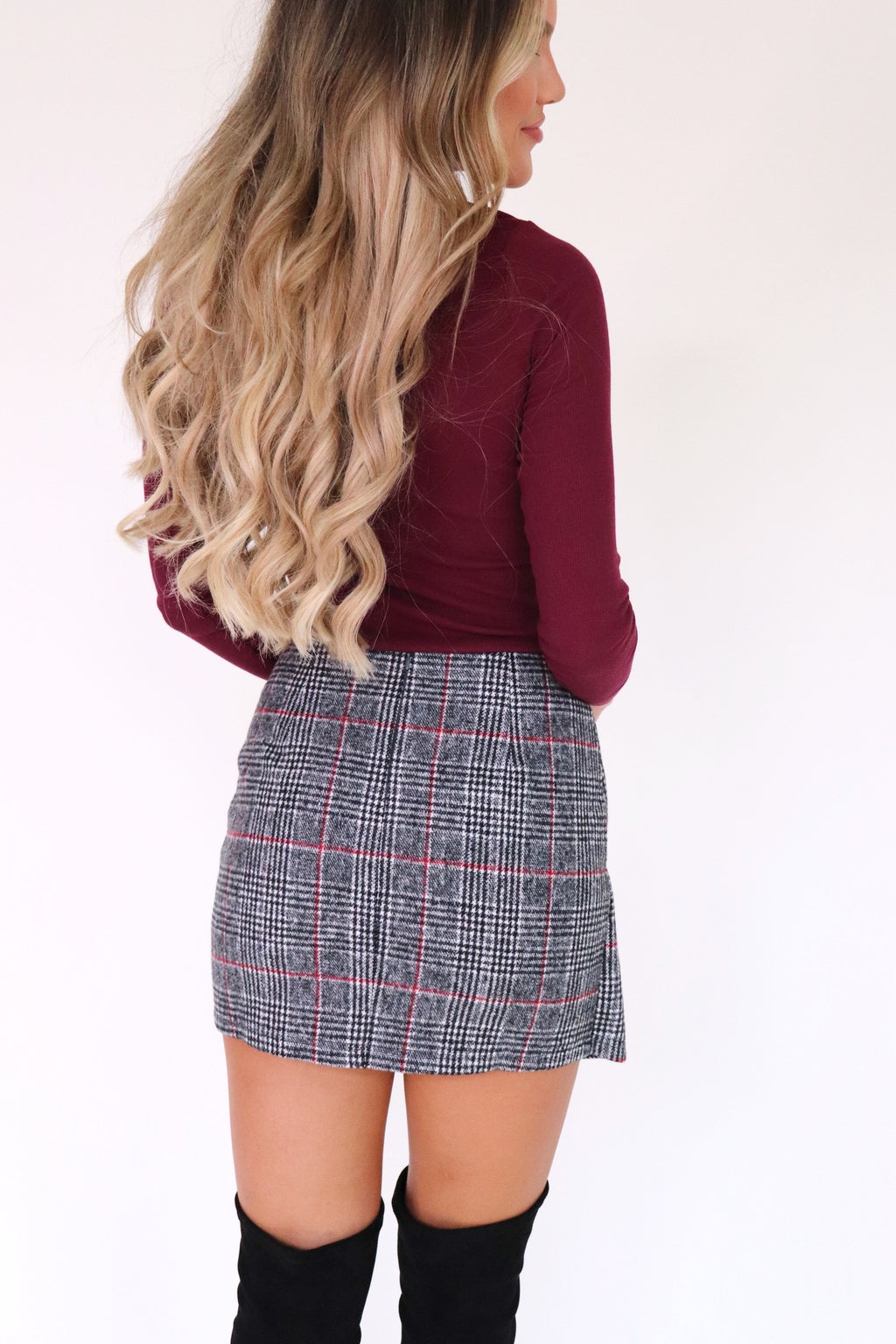 Veronica Plaid Button Skirt