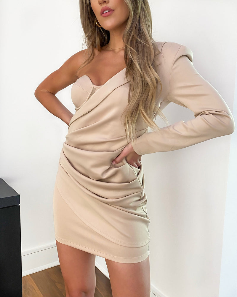 One Shoulder Corset Blazer Dress