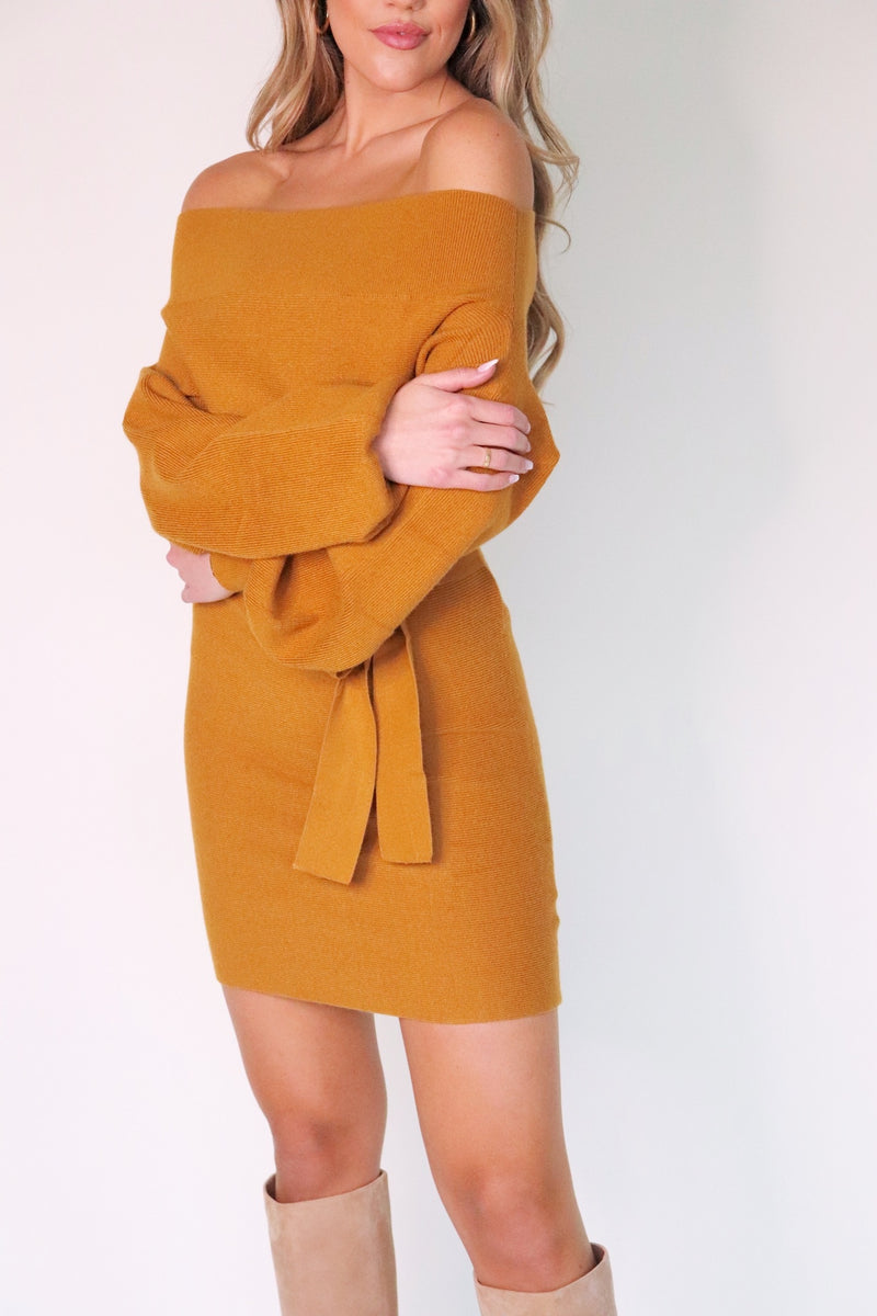 Tuscan Off Shoulder Sweater Dress