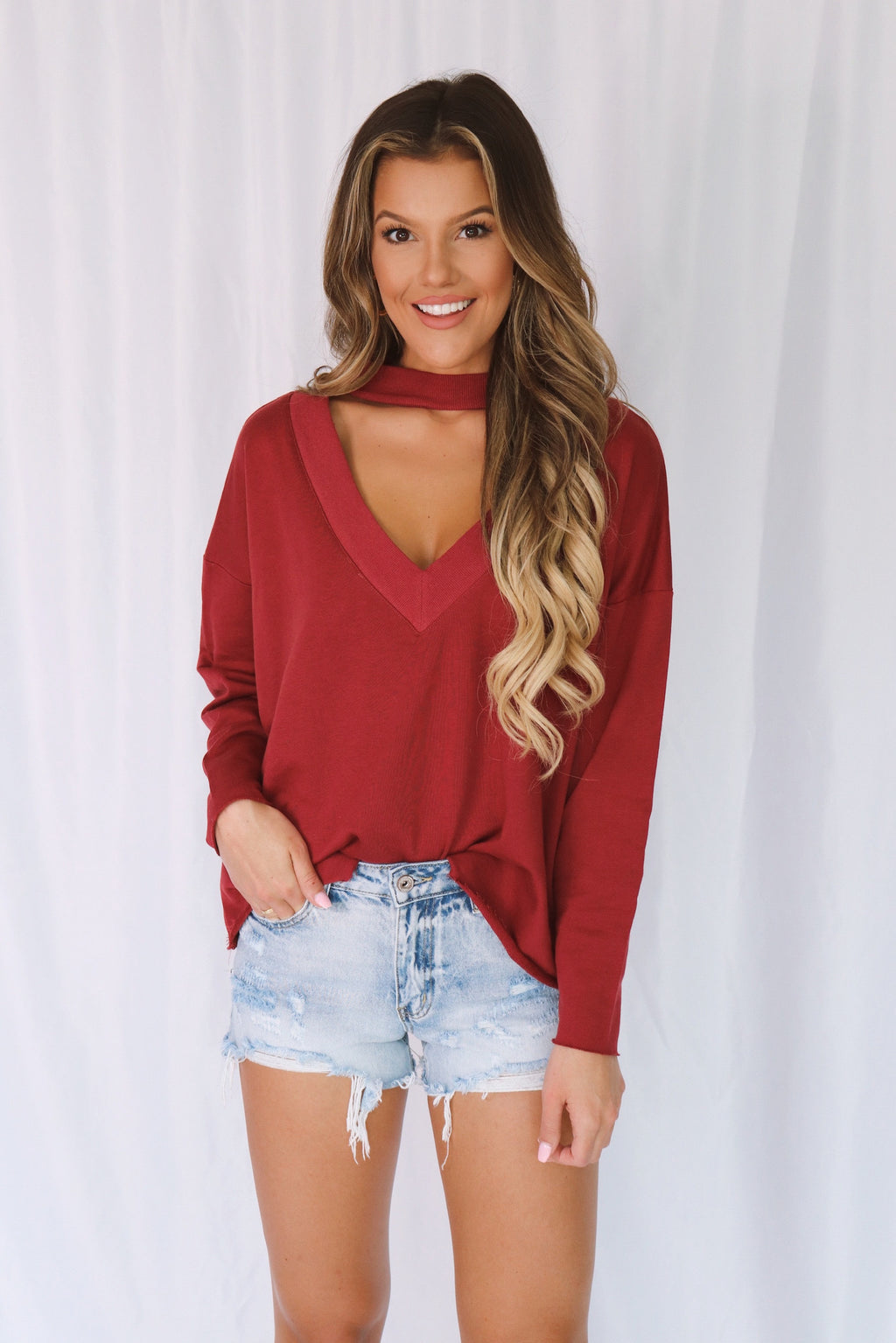 FINAL SALE - Nicole V Neck Cut Out Top