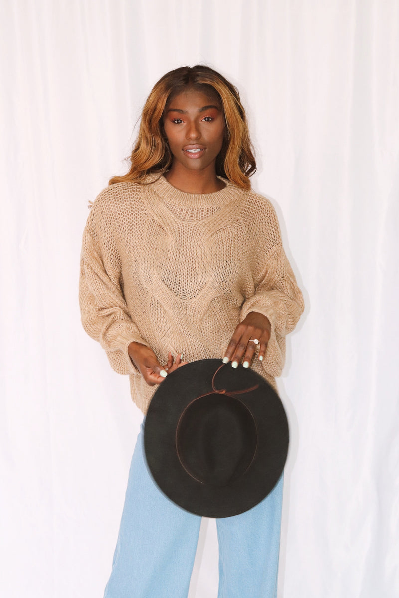 Oversized Camel Chunky Knit Sweater