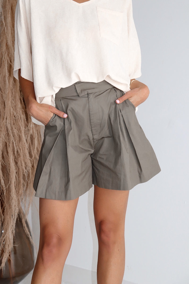 Olive High Waist Pleated Shorts