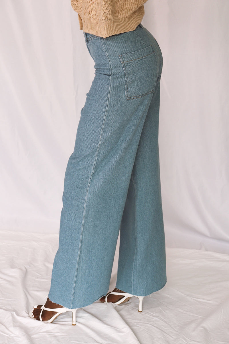 High Waisted Denim Wide Leg Pants