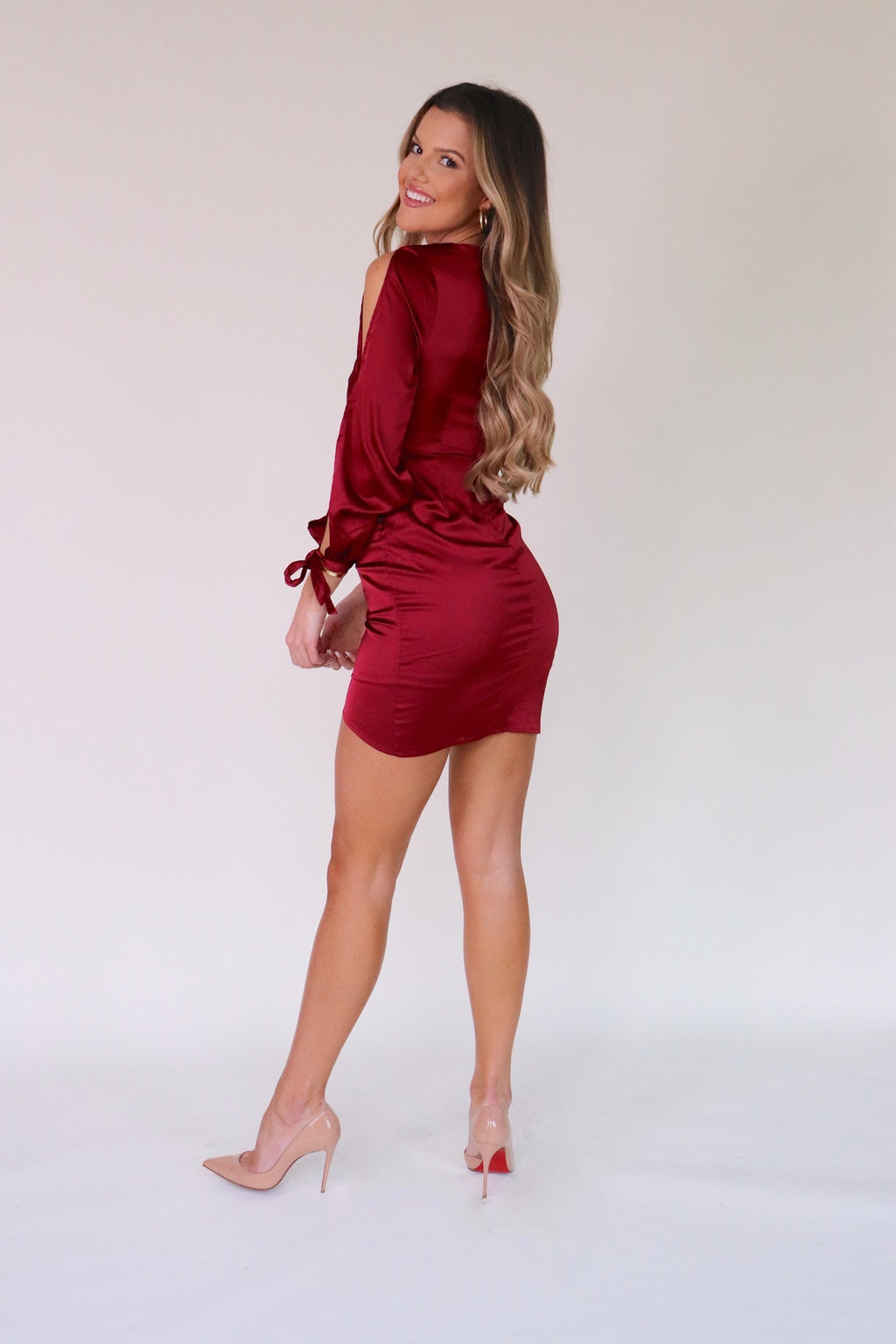 Ruby Satin Slit Dress