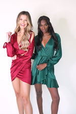 Emerald Satin Dress