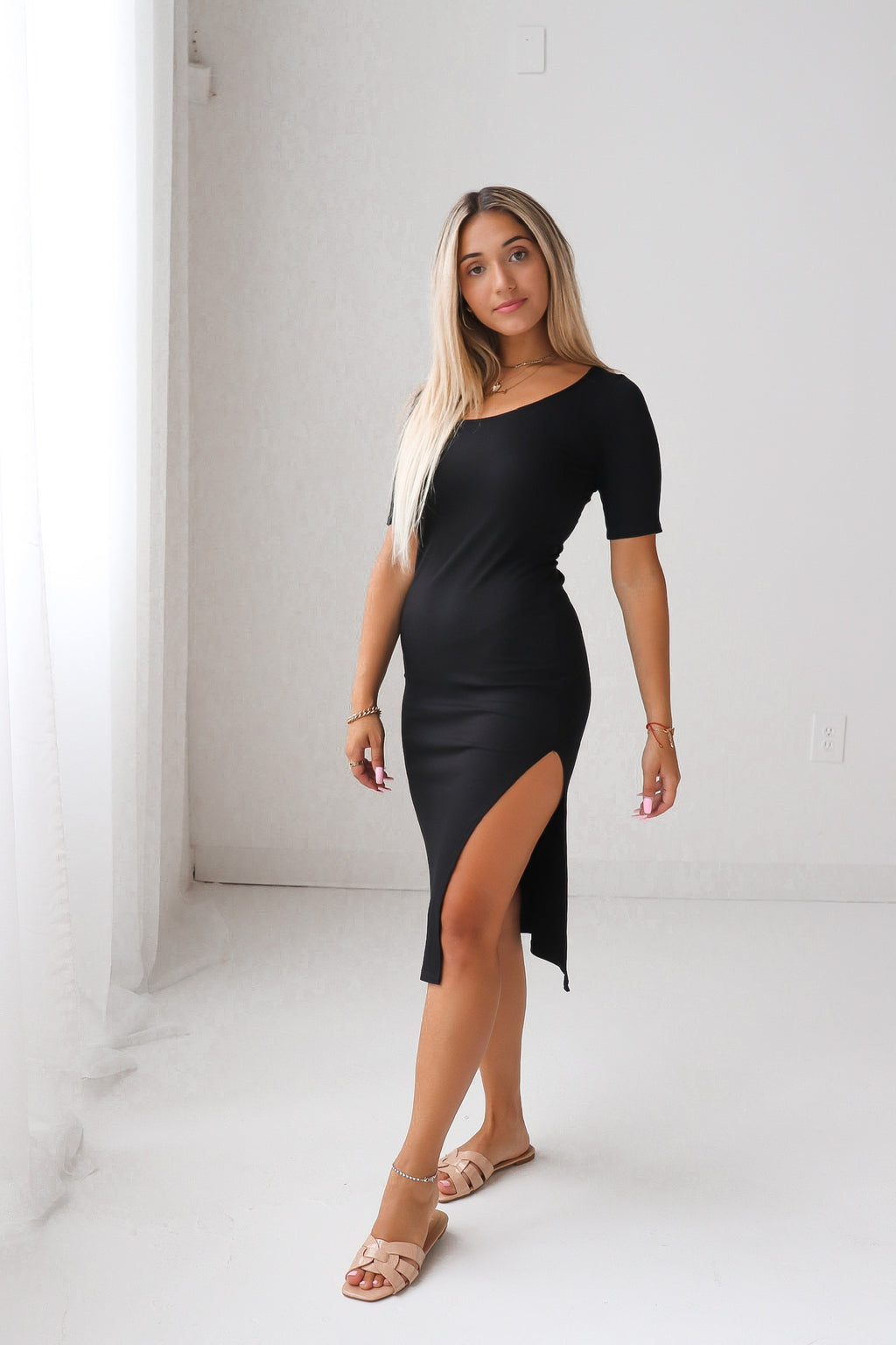 FINAL SALE - Half Sleeve High Slit Midi Dress