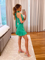 Emerald Sleeveless Tie Neck Dress