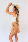 Tan High Waist Pleated Shorts