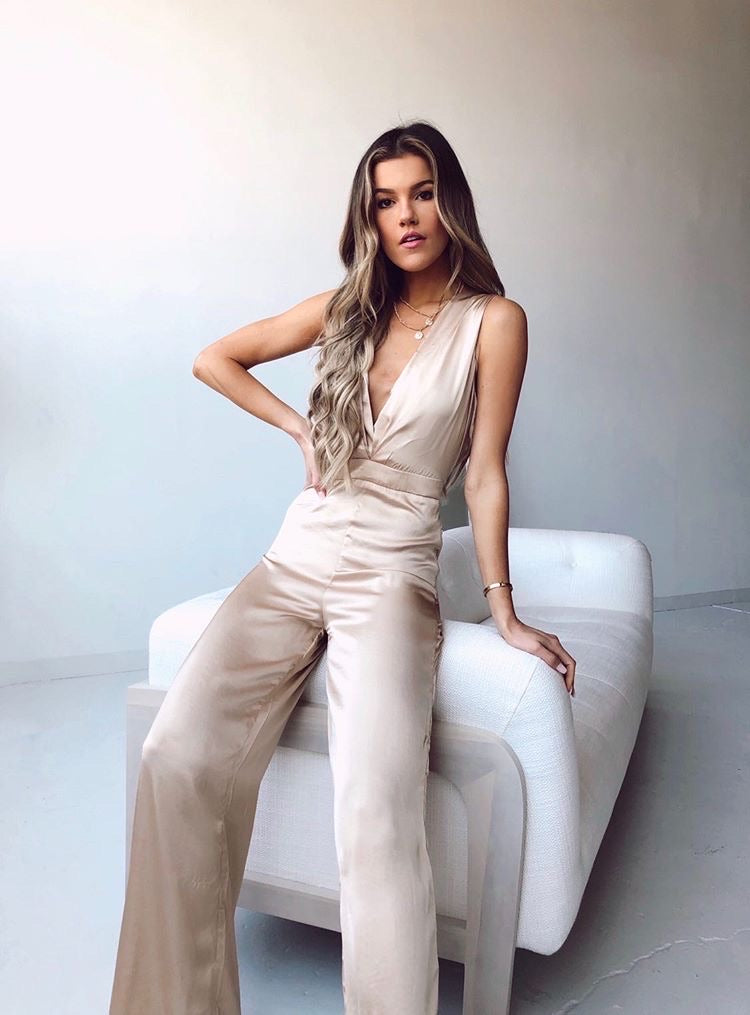 Satin Halter Jumpsuit