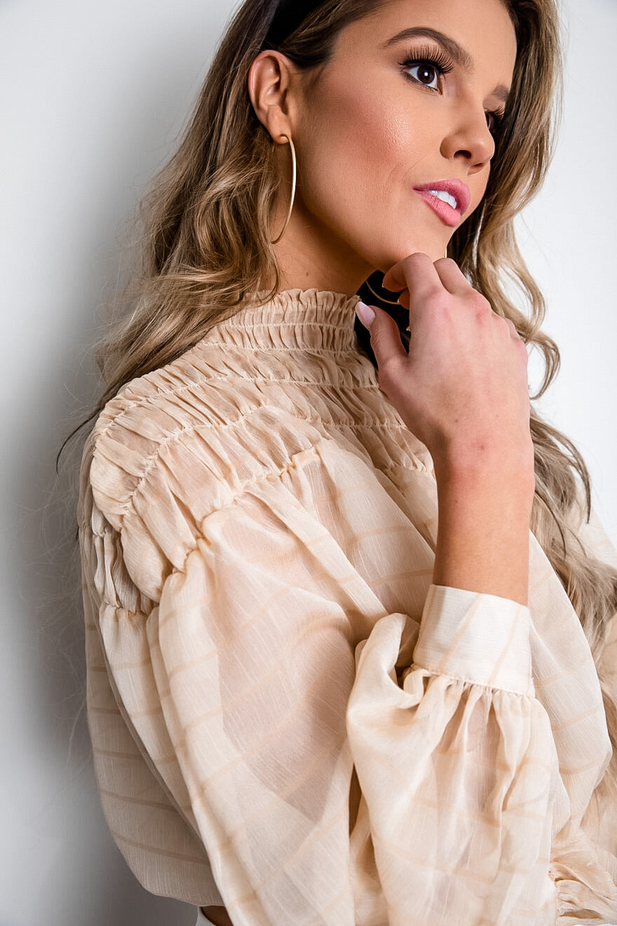 Puff Sleeve Sheer Blouse
