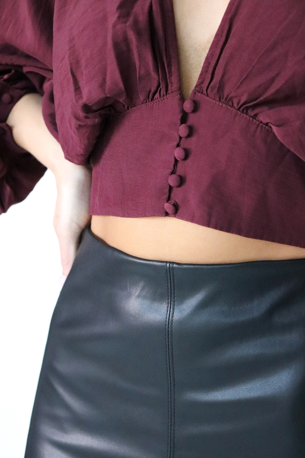 Maroon Balloon Sleeve Blouse