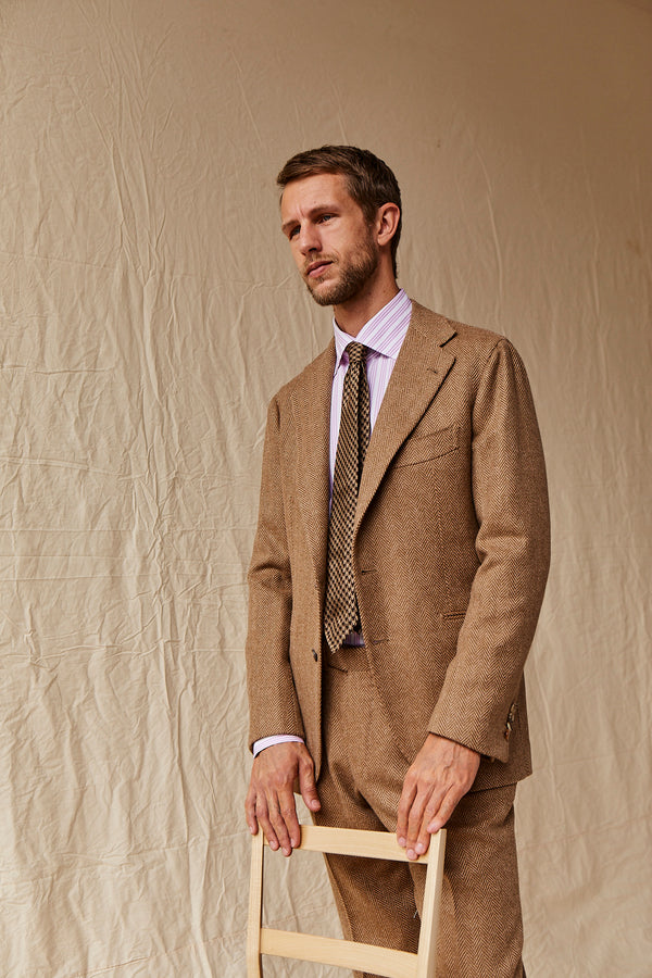 Beige Herringbone Suit from Fox Brothers