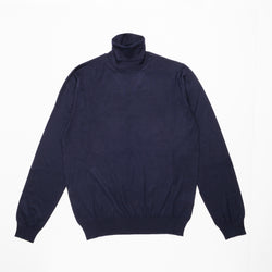 Navy Blue Cashmere & Silk Turtleneck