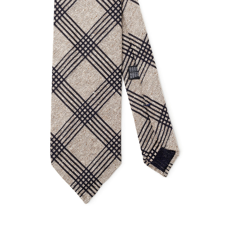 Checkered Beige Black Tie