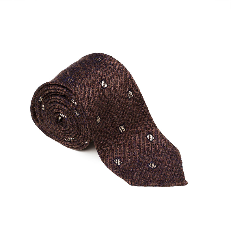 Patterned Brown White Tie