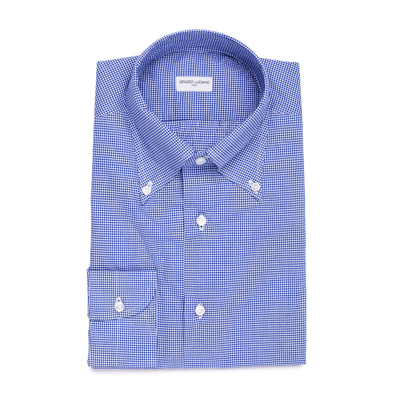 Navy Checked Cotton Button-Down Shirt
