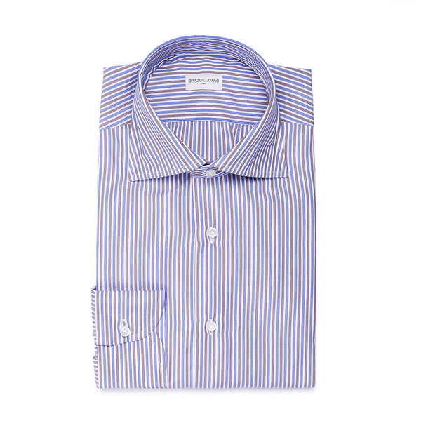 Brown & Blue Striped Shirt