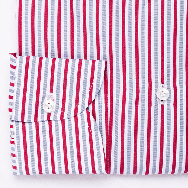 Light Grey & Red Striped Shirt