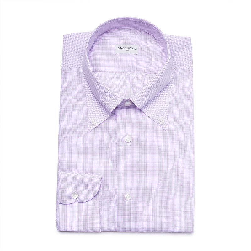 Lilac Checked Cotton Button-Down Shirt