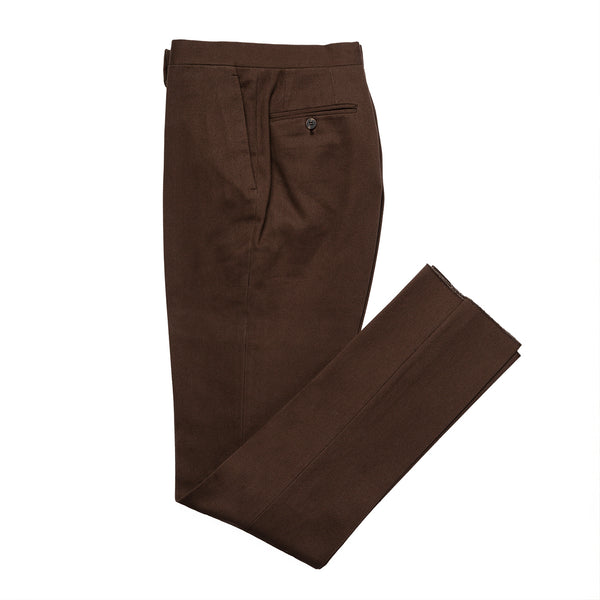 Brown Flat Fronted Pleated Trousers
