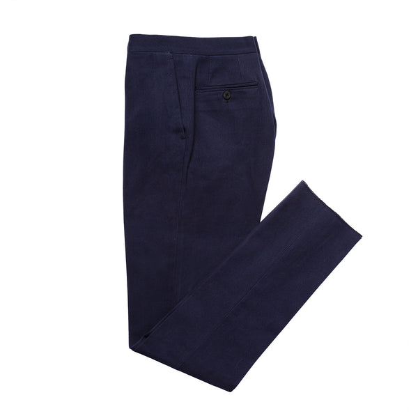 Navy Flat Fronted Pleated Trousers