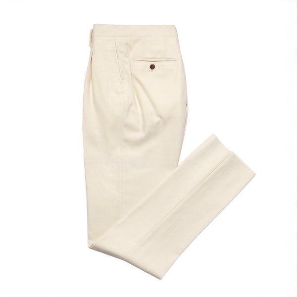Off White Flannel Single Pleated Trousers from Fox Brothers