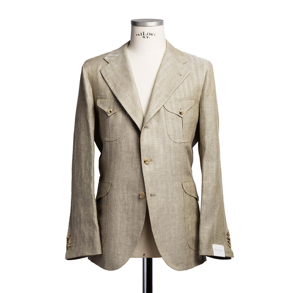Sahariana jacket in khaki W. Bill linen