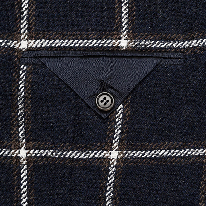 Navy Window Pane Wool Blazer from Solbiati