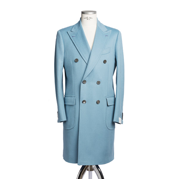 Light Blue Wool Doeskin Double Breasted Coat