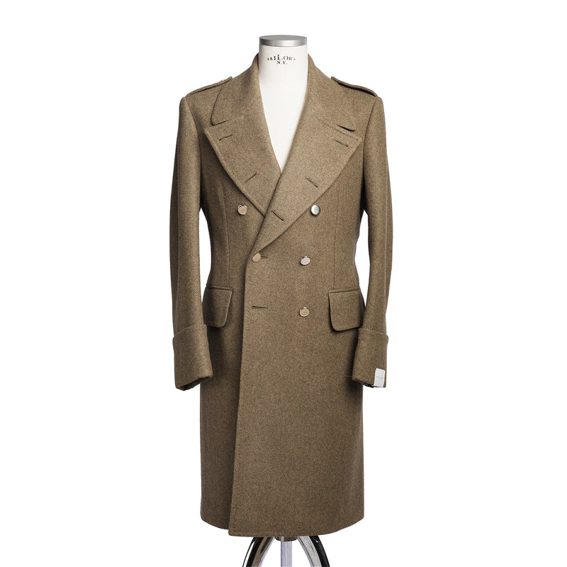 Green Military Double Breasted Trench Coat