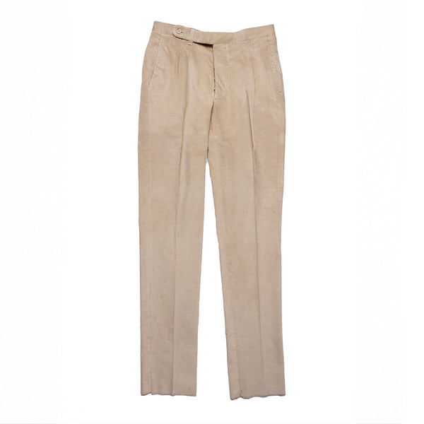 Beige Corduroy Single Pleated Trousers from Loro Piana