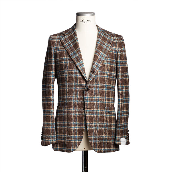 Brown Check Blazer in Solbiati Wool