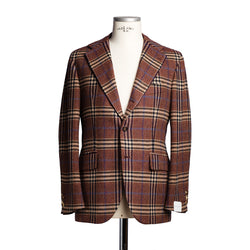 Burnt Red & Navy Prince of Wales Blazer from Fox Brothers