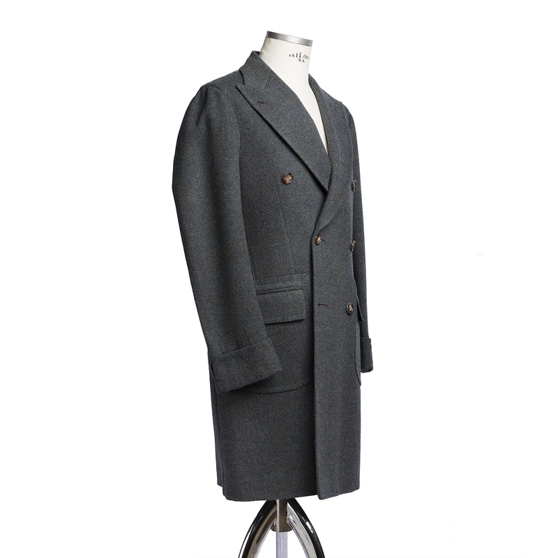 Green Blue Wool Coat from Fox Brothers
