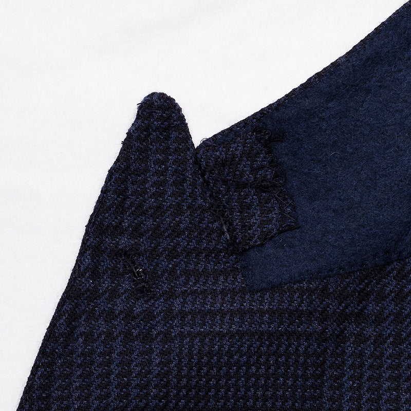 Navy prince of wales jacket in Loro Piana wool