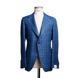 Cobalt blue check jacket in Solbiati linen