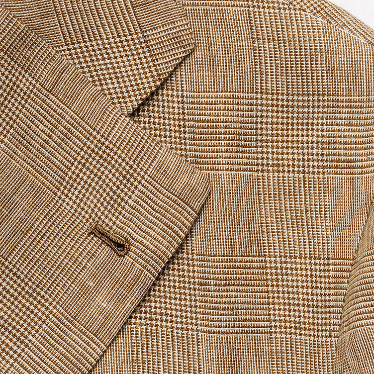 Beige check jacket in Harrisons linen