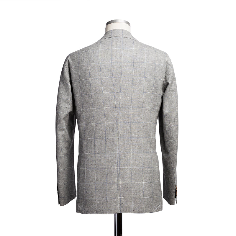 Light grey windowpane jacket in wool and silk