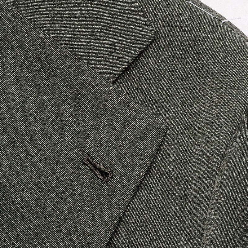 Green-grey suit in wool and cotton from Loro Piana