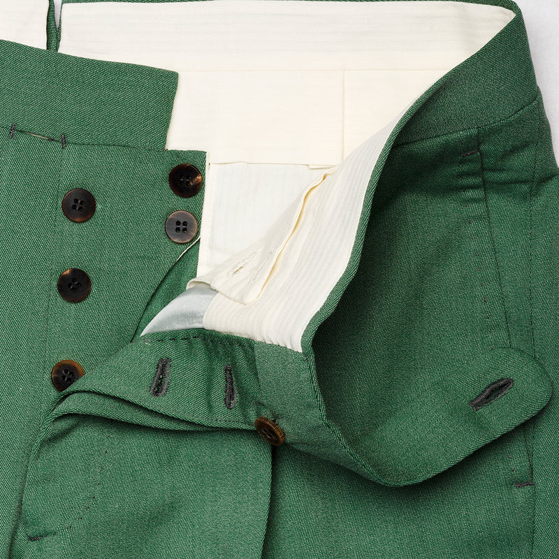 Green trousers in wool and cotton blend from Loro Piana