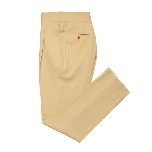 Beige panta in wool and cotton blend from Loro Piana