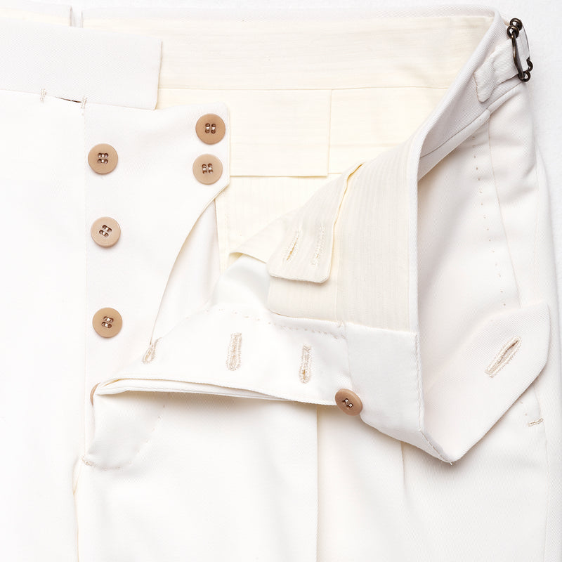 White pants in wool and cotton from Loro Piana